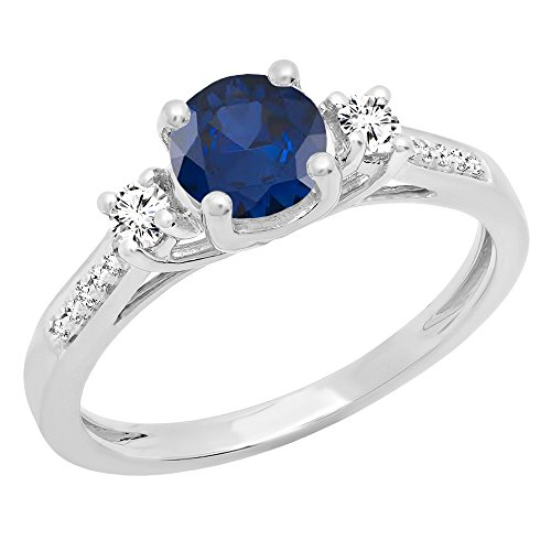 - Dazzlingrock Collection 14K 5 MM Round Blue Sapphire, White Sapphire & Diamond Ladies Engagement Ring, White Gold, Size 7