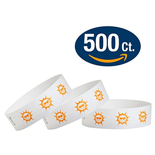 "WristCo Orange Suns 3/4"" Tyvek Wristbands - 500 Pack Paper Wristbands For Events"