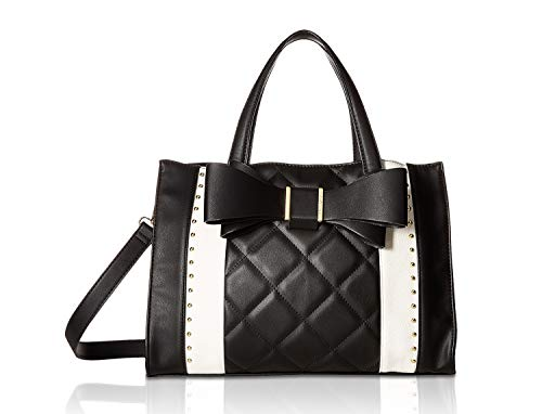 Betsey Johnson Women's Quilted Bow Satchel Black/Cream One Size