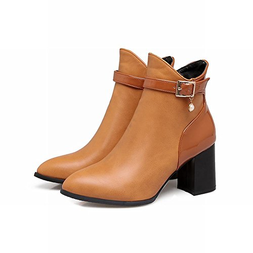 Short Buckle High Carolbar brown Toe Yellow Heel Pointed Womens Zip Vintage Boots fxfHIqAw8