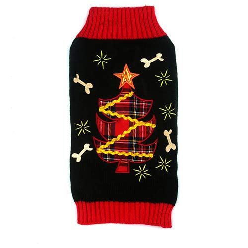 M Puppy New Year Christmas Knit Unique Sweater Fall and Winter Set of Thicken Pet Clothes for Home and Outside,M