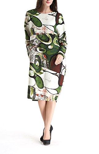 Vert Femme Robe GY272 amp;Linen Midi Taille Imprime Cotton unique Sz272 Bohmien ELLAZHU 1SqgwCS