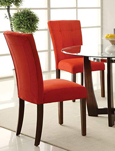 ACME Baldwin Red Microfiber Side Chair Set of 2