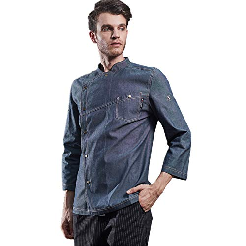 Men's Denim Chef-Coats Adjustable Long Sleeve Chefs Work Clothes Air Cowboy Chef Jacket