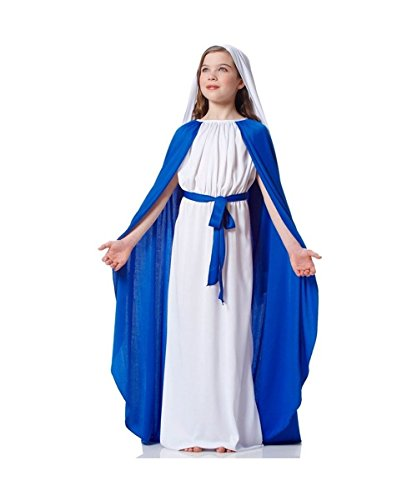[Virgin Mary Biblical Church Nativity Play Girls Costume] (Girls Virgin Mary Costume)
