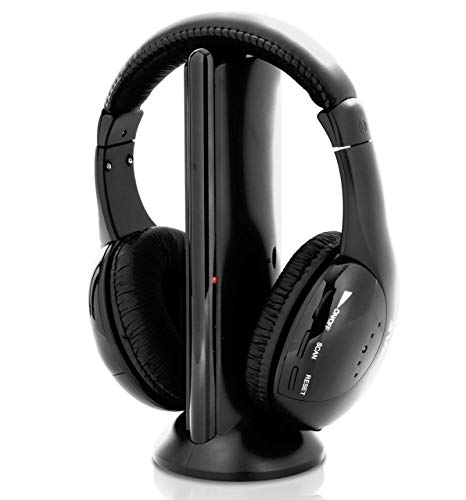 Stereo Wireless Over Ear Headphones – Hi-fi Headphone Professional Black Monitor Headset with 30m Range, Noise Isolation…