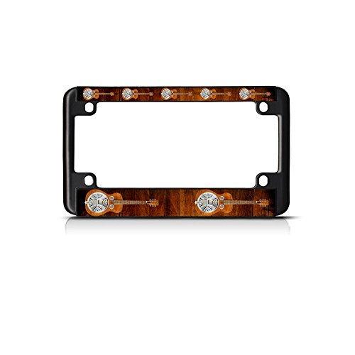 License Plate Frame Dobro Musical Instrument Music Bike Black Tag Holder Car Plate Frame, Auto 6