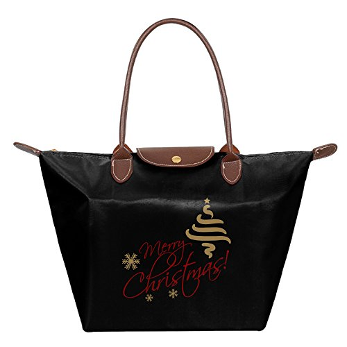 [Merry Christmas Waterproof Nylon Dumplings Handbags For Women Black] (Flamenco Costume Philippines)