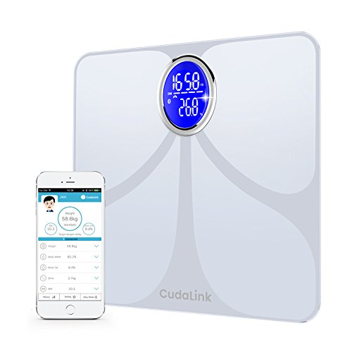 All-In-One Health Body Composition Weight Body Fat Percentage Scale | Body Analyzer Scale 180kgs/400lbs Capacity & 8 Key Metrics | 4 High Precision Sensors, LED Display & iOS, Android App by CudaLink