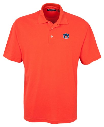 Auburn Tigers Ncaa Oxford (Oxford NCAA Men's Auburn Tigers 3-Button Polo With Hemmed Sleeves (Sunkissed , Large))