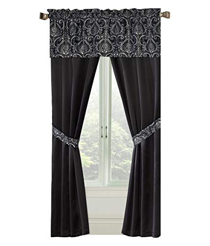 GoodGram Unique 5 Piece Window Curtain Set Assorted Colors (Black) ()