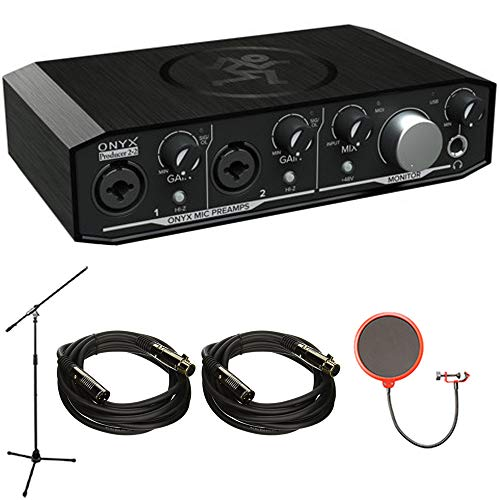 Mackie Onyx Producer 2-2 2x2 USB Audio Interface with MIDI (Onyx PRODUCER2-2) with Accessories Bundle Includes, 2X Monoprice 4752 Premier Series XLR Cable, Mic Stand & Universal Pop Filter