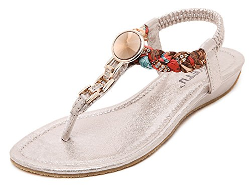Fortuning's JDS Bohemia Rhinestone weave thongs sandals for women Gold