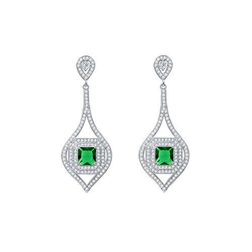 CZ and Green Gemstone Leaf Design Halo Drop Earrings