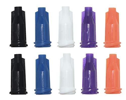 200-Pcs Syringe Tip Caps with Luer Lock - 5 Colors - White Black Orange Purple Blue
