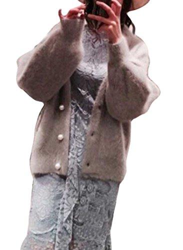 Heaven Days(ヘブンデイズ) シャギー ニット カーディガン パールボタン ラウンドネック 長袖 レディース 1801M0075