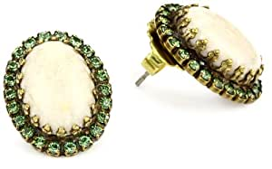 """Sorrelli """"Water Lily"""" Opaque and Crystal Oval Stud Gold-Tone Earrings"""