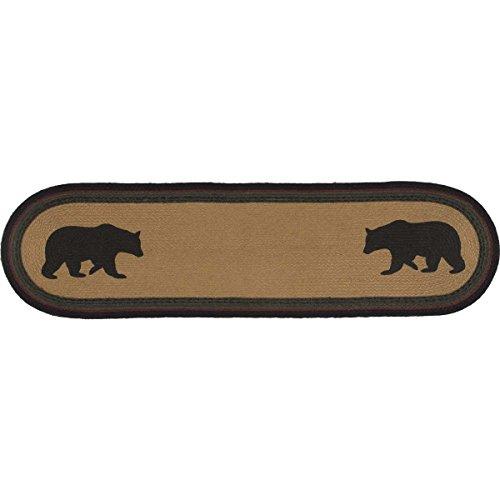 VHC Brands Rustic & Lodge Tabletop & Kitchen - Wyatt Tan Bear Oval Jute Runner, 13x48, Brown (Runner Table Bear)
