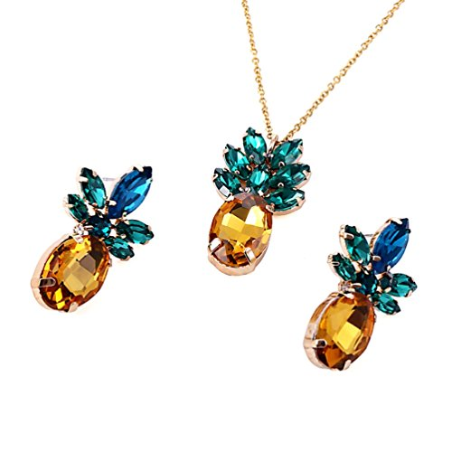 Sparkling Yellow Emerald Crystal Vintage Trendy Fruit Pineapple Earrings Stud Jewelry For Women Girls (pineapple earring necklace sets) ()