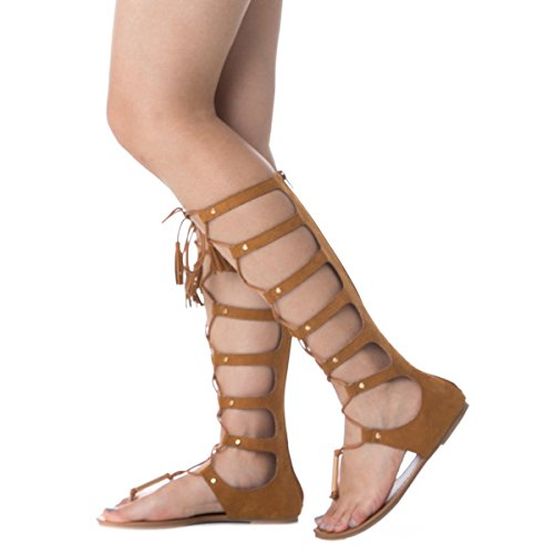 7182ff7af7de Soho Shoes Women s Suede Knotted Peep Toe Lace up Roman Gladiator Sandals -  Buy Online in Oman.