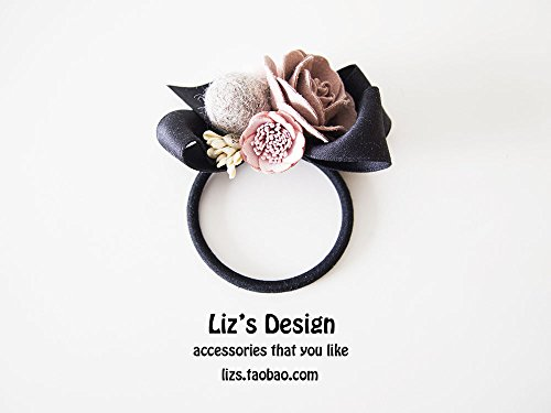usongs Character design leather lace flower rose felted wool ball bow hair rope hair accessories ()