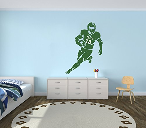 Personalized Name Football Player Wall Decal - Boy Girl Unis