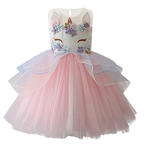 yeesn Girls Princess Unicorn Costume Tulle Tutu Dress Summer Sleeveless Costume Birthday Party Fancy up Dress (Pink, 110cm (Recommend for 3-4 yrs Old))