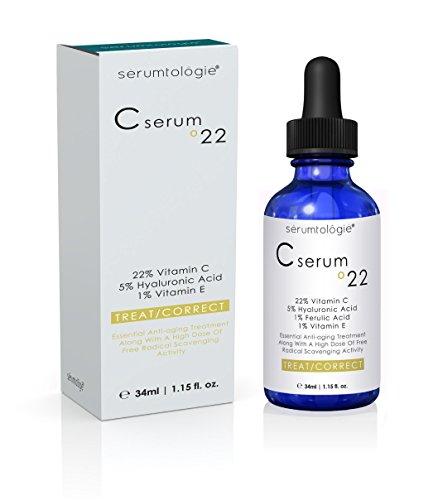 Vitamin C serum 22 by serumtologie-Anti Aging Moisturizer-Evidence Based Pro Formula 22% Vit. C  5% HA  1 % Vit. E  1% Ferulic AcidMax. Concentration of Clinically Proven Active Ingredients 1.15oz