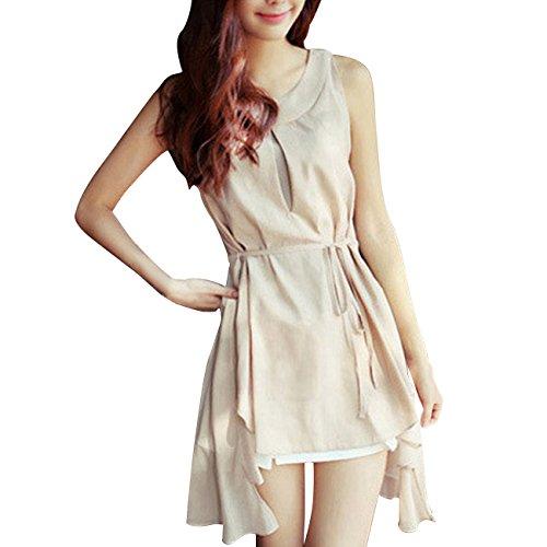 Little Hand Womens Girls Vintage Pastorale Pleated Sundress Chiffon Dress Apricot L