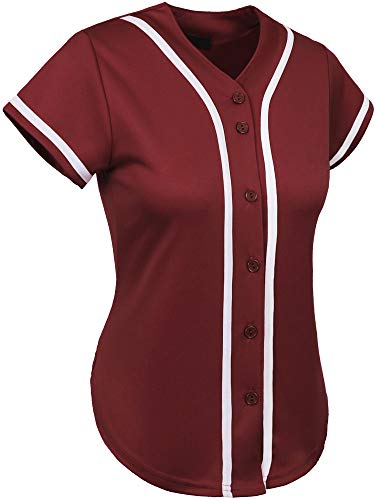 Hat and Beyond Womens Baseball Button Down Athletic Tee Short Sleeve Softball Jersey Active Plain Sport T Shirt (Small, 3up01 Burgundy/White)