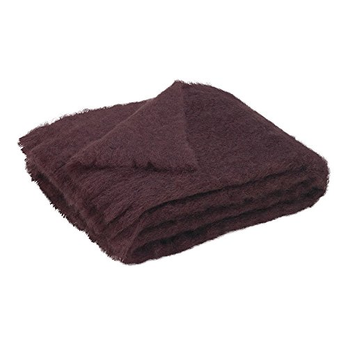 Luxury 100% Fine Mohair Throw Blankets – Exclusive Designer Accent Throws Made in New Zealand, Heirloom Quality In 30 Solid Colors (Mulberry)