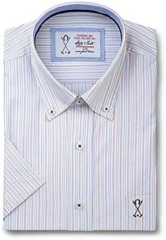 Camisa de Hombre Manga Corta Blanca, con Estampado de Rayas Verticales de Color Naranja y Azul - 6_2XL, Naranja: Amazon.es: Ropa y accesorios