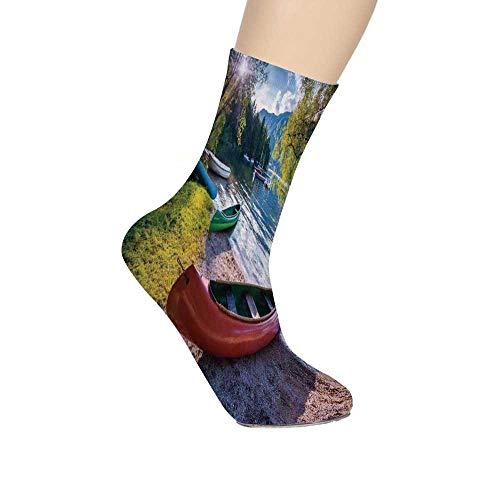 - TecBillion Landscape Soft Mid Calf Length Socks,Bohinj Lake with Boats Canoes Triglav National Park Julian Alps Slovenia Print Socks for Men Women