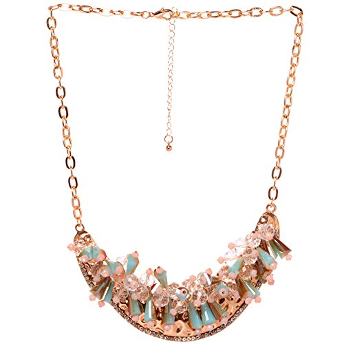 HONEYJOY New Dazzle Colour Crystal Female Luxury Clavicle Short Chain Exaggerated Fashion Necklace(blue)