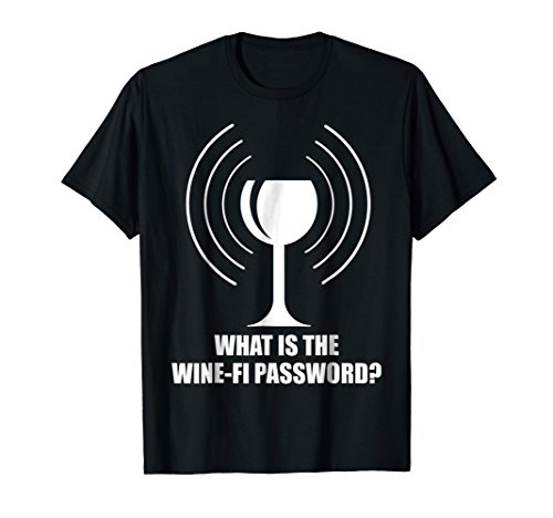 Wine-Fi Password Funny Wine Glass WiFi Waves Novelty Gag T-Shirt