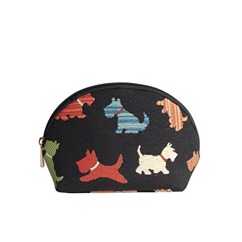 Dog Print Scottie Tapestry Makeup Bag Travel Cosmetic Bag Brush Bag for Women Girls by Signare (COSM-SCOT)