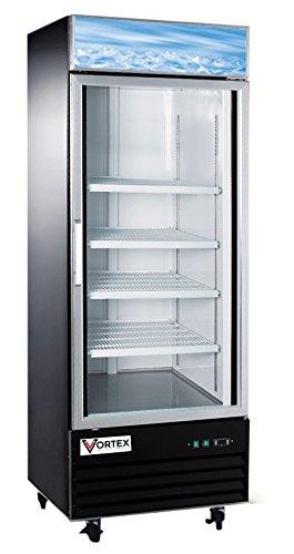 Vortex Refrigeration Commercial 1 Glass Door Black Merchandiser Freezer - 23 Cu. Ft. -