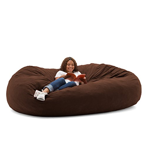 Big Joe Fuf Foam Filled Bean Bag Chair, Espresso Comfort Suede, XXL