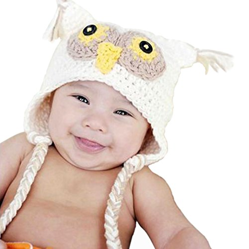 Unisex Baby Handmade Winter Prop Owl Hat - Fits 2 to 4 Year Old (White)
