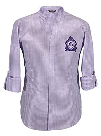 Lilac Checked V Neck Shirts For Men