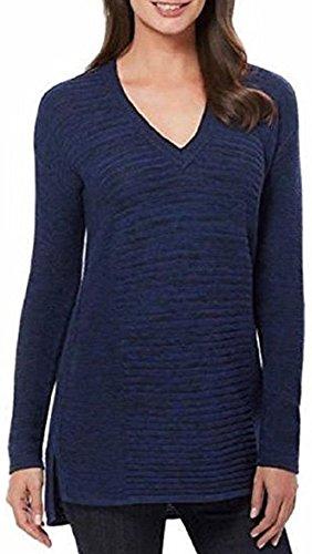 Ellen Tracy Women's Knit V-Neck Marled Pullover Sweater (Admiral Blue Black, - Marled Sweater V-neck