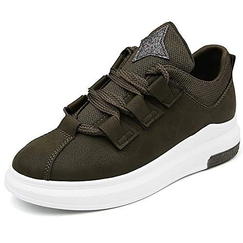 otoño de Transpirable de Zapatos GUNAINDMX para Mujeres de Zapatillas Plataforma Zapatos Deporte Casual Mujeres Mujer de Deporte Zapatos green Planos Encaje 5qwPxw7TtW