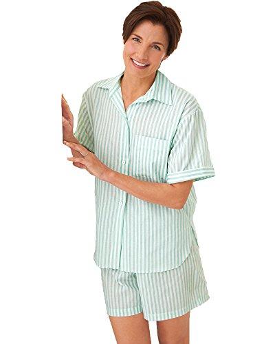 National Striped Shortie Pajamas, Aqua, Large