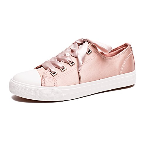Image of ZGR Womens Fashion Canvas Sneaker Low Cut Lace UPS Casual Shoes Pink Size US9