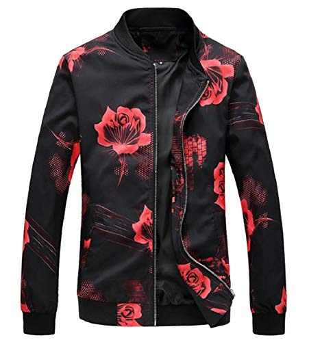 Spring Jackets Print 7 Bomber Zipper Men's Sleeve Long Floral security 5HFqz