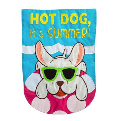 Hot Dog Chillin Garden Flag