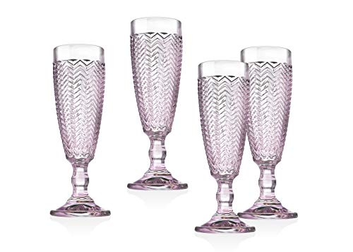 Twill Champagne Flutes Beverage Glass Cup by Godinger - Rose Pink - Set of 4