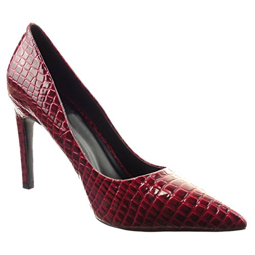 Patente Pele Cobra Da Sopily Do Moda Sapatos Da Estilete Mulheres De Da De Bomba Vermelho Das U6U7qnwv4x
