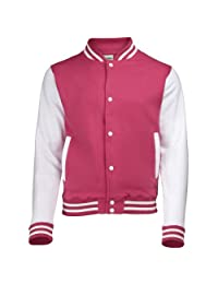 Kid's Varsity Jacket COLOUR Hot Pink/White
