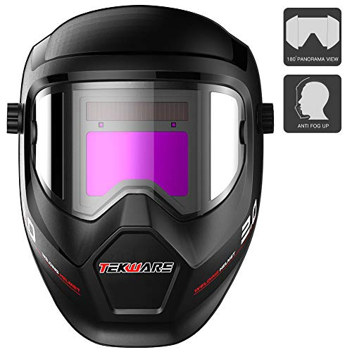 Tekware Anti Fog Up True Color Solar Powered Auto Darkening Welding Helmet with SIDE VIEW,4/9-13 Welder Mask for TIG MIG ARC